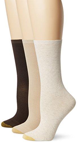 Gold Toe Women's Non-Binding Flat Knit Crew Sock 3-Pack, Oatmeal/Khaki/Brown, Shoe Size: 6-9/socks size: - Socks Cotton Toe Ribbed