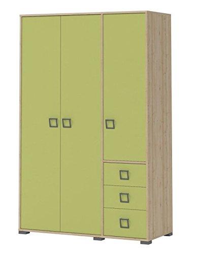 Kinderzimmer - Drehtürenschrank / Kleiderschrank Benjamin 14, Farbe: Buche / Olive - 198 x 126 x 56 cm (H x B x T)