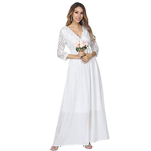 KUREAS Bridal Dress Lace Stitching Chiffon Flowy Long Casual Wedding Party Dress White