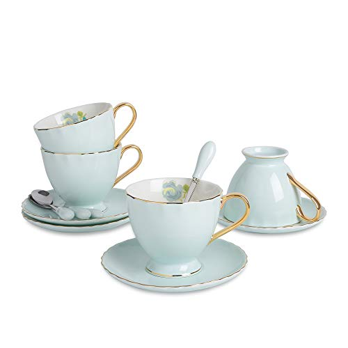 Bone 12x12 (ARTVIGOR 12-Piece Silver Rimmed Coffee Tea Set fo with Saucers and Spoons New Bone China 6.8oz Teacups, 14.6 x 14 x 4.1 inches Blue)