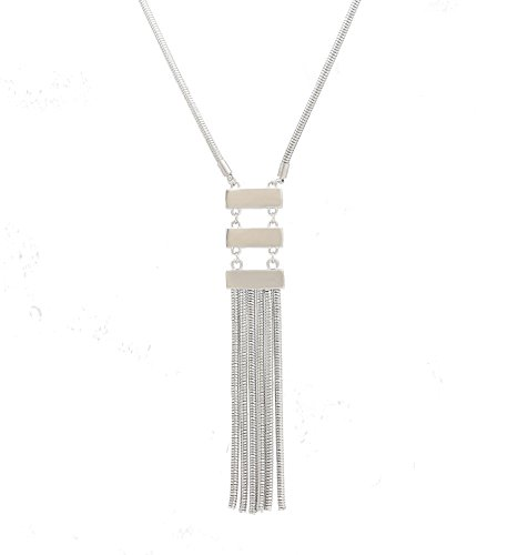 VUJANTIRY Y Shaped Tassel Necklace Triple Bar Pendant Necklace Sweater Long Necklace for Women Girls Gold/Silver (Silver)