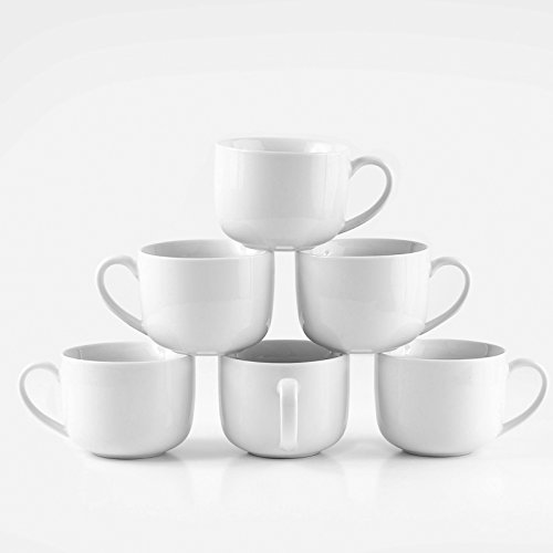 Amuse- Professional Barista Jumbo Mug- Set of 6- 16 oz. (Jumbo White Coffee Cups)