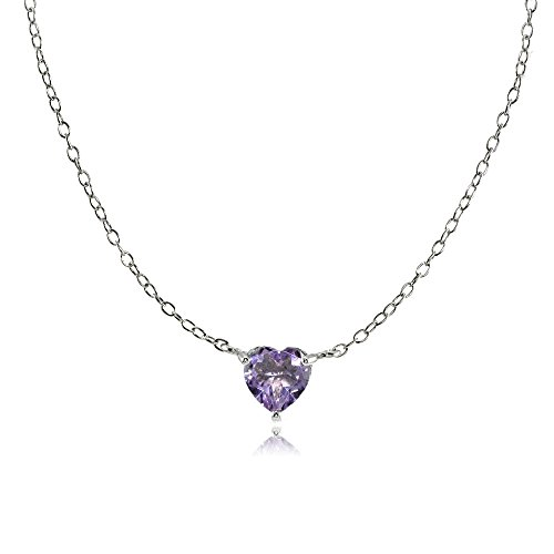Alexandrite Heart - Ice Gems Sterling Silver Small Dainty Simulated Alexandrite Heart Choker Necklace