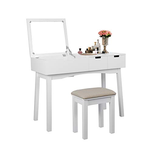 Flip Wooden Stool - Vanity Set with Dressing Table Flip Top Mirror Organizer Cushioned Stool Makeup Wooden Writing Desk 2 Drawers Easy Assembly Beauty Station Bathroom (White)