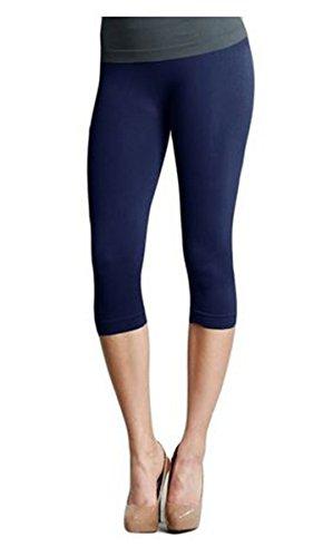 - Nikibiki Womens Sexy Smooth Form-Fitting Capri Leggings (Navy)