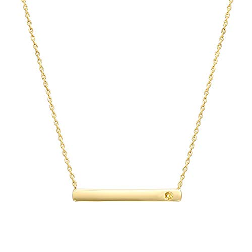 PAVOI 14K Gold Plated Swarovski Crystal Birthstone Bar Necklace   Dainty Necklace   Gold Necklaces for Women   November