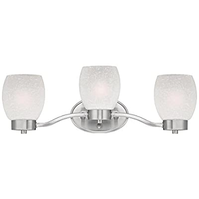 Westinghouse 6341100 Karah Three-Light Indoor Wall Fixture, Brushed Nickel Finish with White Linen Glass