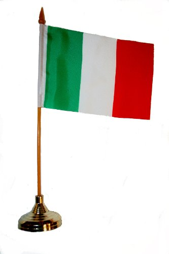 Italia Italy Small 4 X 6 Inch Mini Country Stick Flag Banner with GOLD STAND on a 10 Inch Plastic Pole .. New