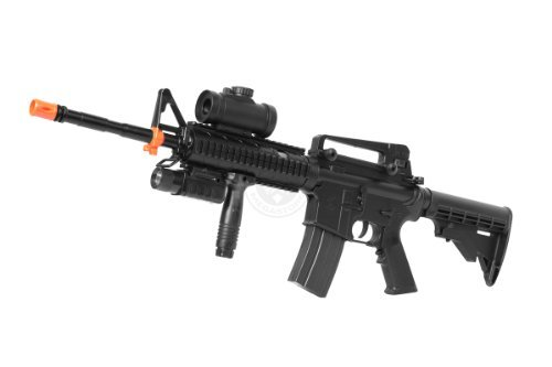 Semi Automatic Gearbox (BBTac M4 RIS Fully Automatic Electric AEG Rifle w/ Flashlight and Red Dot Scope)