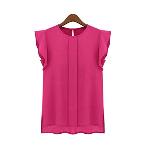 Exclusive Womens Casual Loose Chiffon Short Round Neck Blouse, Ninasill Beautiful Tulip Sleeve Blouse Shirt Tops (L, Hot Pink)