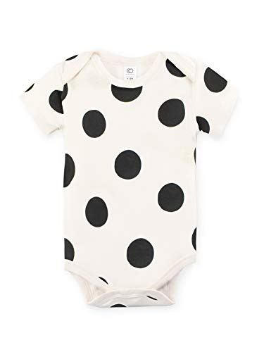 Colored Organics Unisex Baby Organic Cotton Bodysuit - Short Sleeve Infant Onesie - Natural/Polka Print - 3-6M -