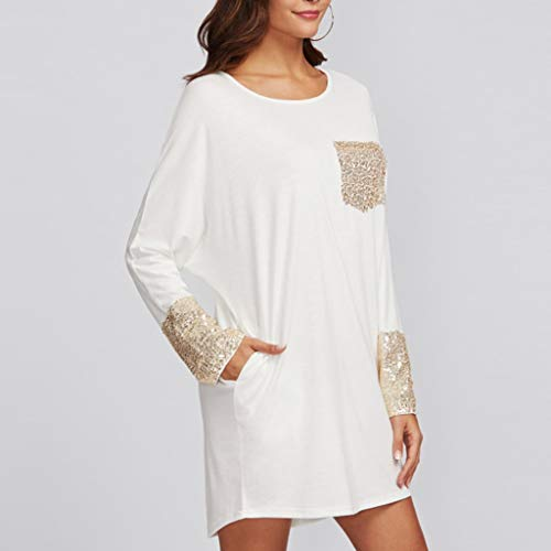 PASATO Fashion Womens Round Neck Dress Sequined Pocket Casual Loose T-Shirt Dress(White,XL=US:L) by PASATO Dress (Image #1)