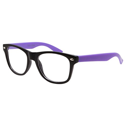 9d8a3ca720a Kids Nerd Fake Glasses Clear Lens Colored Arms Geek Costume Children s (Age  3-10