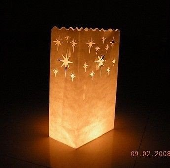 Fascola 20 x White Craft Paper Tea Light Holder Lantern Lamp Candle Bags - Decoration for Parties, Weddings, Birthdays - Star Paper Lanterns Craft