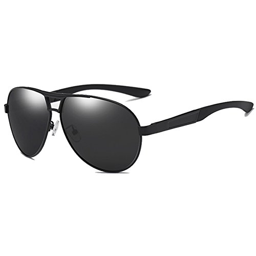 LUDEM Oversized Mens Aviator Sunglasses Polarized Military Driving Wide Frame UV400 Protection (Black Frame & Grey Lens, - Long For Face Sunglasses A