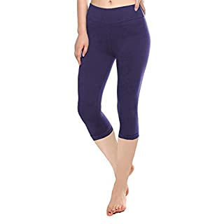 KT Buttery Soft Capri Leggings for Women - High Waisted Capri Pants with Pockets - Reg & Plus Size - 10+ Colors (Capri Eggplant, One Size)