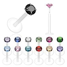 Bio-Flex Shaft with Push-in .925 Silver Prong Set Gem Labret/Monroe 16g 5/16""