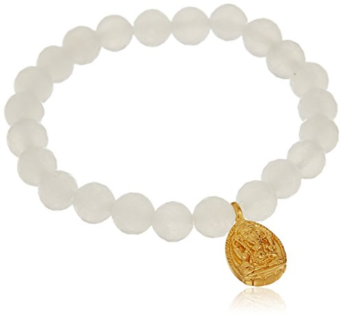 Satya Jewelry 8mm White Jade Gold Ganesha Stretch Bracelet - Jade White Gold Bracelet