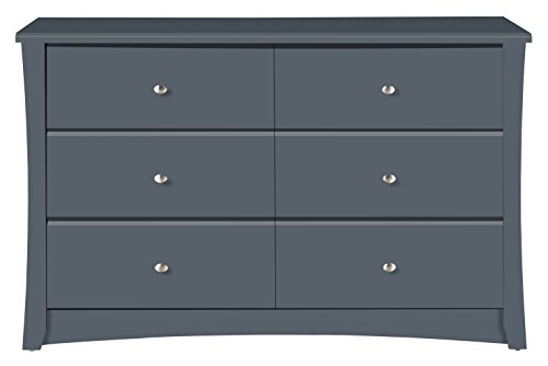 Storkcraft Crescent 6 Drawer Dresser, Grey, Kids Bedroom Dresser with 6 Drawers, Wood and Composite Construction, Ideal for Nursery Toddlers Room Kids Room - BEAUTIFUL DESIGN: The Storkcraft Crescent 6-Drawer Universal Dresser's elegant curves and sleek lines bring a touch of elegance to any bedroom or nursery. This easy-to-assemble dresser is the perfect combination of elegant design & practical function. CO-ORDINATE YOUR STYLE: Designed to match any Storkcraft crib, glider, or change table, the Crescent bedroom dresser is ideal for organizing baby's clothes, socks, onesies, even burp rags & diapers! Sturdy & functional, it fits seamlessly with any décor. ORGANIZATION MADE EASY: With 6 spacious drawers to fit clothes, accessories or toys, the Storkcraft Crescent Dresser will help you keep the nursery, toddler's room, or kid's room neat and organized. The stylish, sleek design will look beautiful for years. - dressers-bedroom-furniture, bedroom-furniture, bedroom - 31v v7FPUJL -
