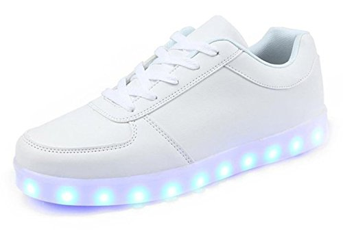 Adult Light Up Shoes (KaLeido Unisex USB Charging 7 Colors LED Sport Shoes Flashing Fashion Sneakers Light Up Sport Shoes (5.5 B(M) US Women/4 D(M) US Men, White))