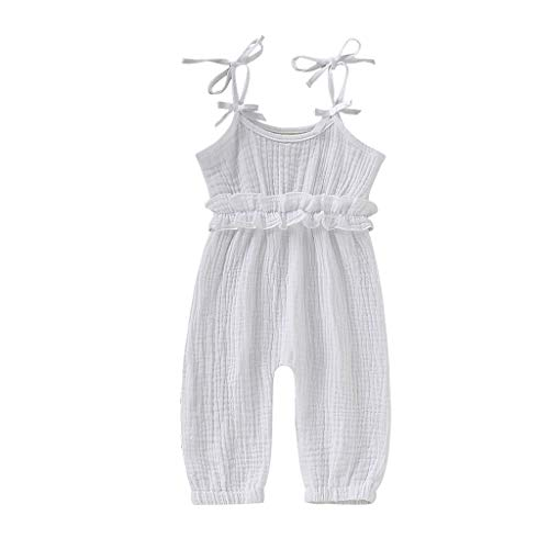 Dasuy 3-24 Months Toddler Newborn Kids Baby Boys Girl Sleeveless Ruffle Romper Jumpsuit Backless Playsuit Outfit Overalls (18-24 Months, White) -