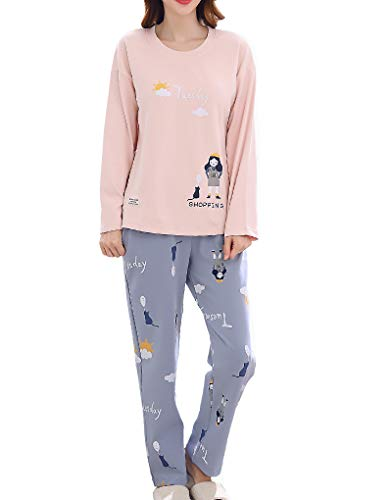 Vopmocld Cute Girls Winter Pajama Sets Letters Printed Lovely Cat Sleepwear Size 8-17 Years