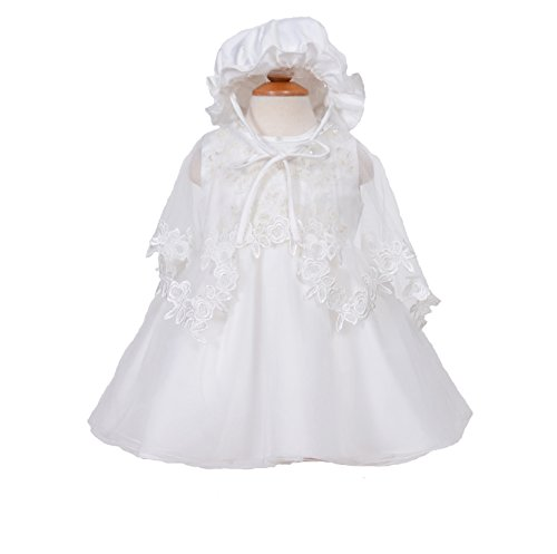 Price comparison product image Cinda Clothing Baby Girls' Christening Gown with Bonnet and Cape 3-6 Months Ivory