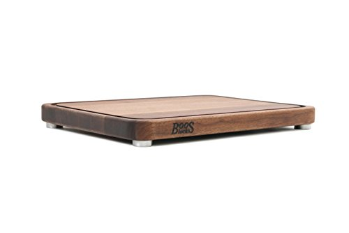 (John Boos Block WAL-TEN2015 Walnut Wood Tenmoku Cutting Board with Juice Groove and Stainless Steel Feet, 20 Inches by 15 Inches by 1.5 Inches)