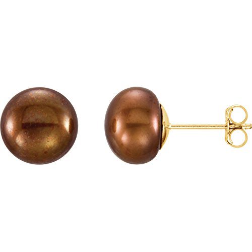 - 14K Yellow Gold 8-9mm Chocolate Freshwater Cultured Pearl Earrings