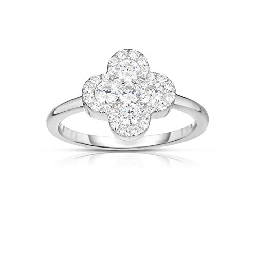 Unique Royal Jewelry Solid 925 Sterling Silver Invisible Set Cubic Zirconia Four Leaf Clover Ring.