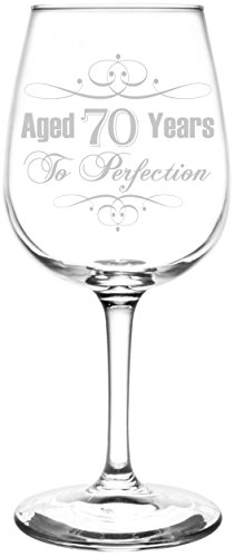 Personalized & Custom (70th) Aged To Perfection Elegant & Vintage Birthday Celebration Inspired - Laser Engraved 12.75oz Libbey All-Purpose Wine Taster Glass -