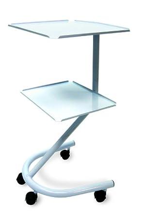 "3B Scientific W15065 Carbon Steel Two Shelf Tubular Multi-purpose Rolling Cart, 18"" Length x 16.5"" Width x 34"" Height"