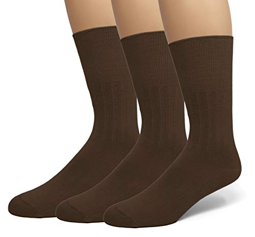 EMEM Apparel Men's Big and Tall King Size Diabetic Circulatory Non-Binding Top Loose Top Casual Dress Crew Mid Calf Cotton Seamless Toe Hosiery Socks 3-Pack Brown ()