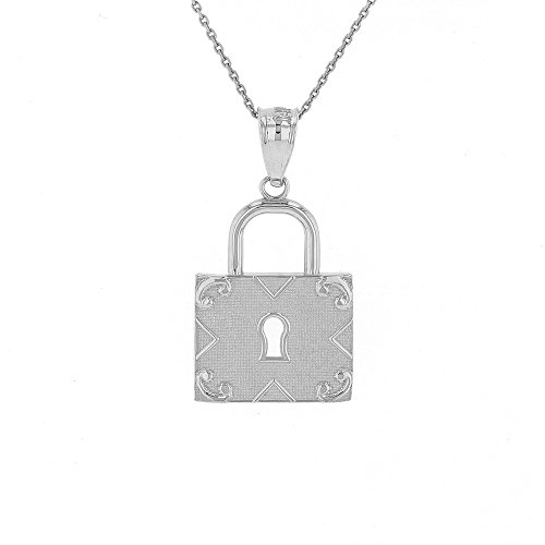 Polished 14k White Gold Swirl Square Padlock Pendant Necklace, 16