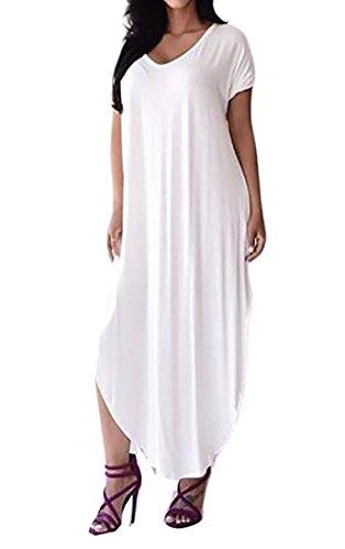 Vestito shirt Semplice Casuale Bianco T Delle Jaycargogo Largo Donne Pianura HfvTppq