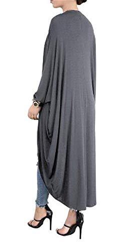 Hx Grey Cappotti Maglia Cappotto Monocromo Confortevole Ragazza Chic Autunno Libero Giubotto Baggy A Lunga Tempo Fashion Pipistrello Manica Giacca Irregular Elegante Donna B1wqyEnrB