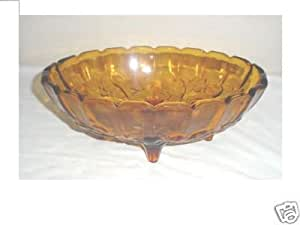 Amber 4 Footed Oval Fruit Bowl
