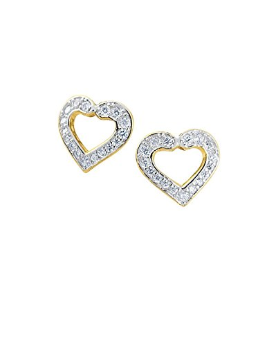 SIVALYA HEART Earrings in Gold Vermeil with CZ, 925 Sterling Silver with 14K gold plating, Exquisite hand-crafted modern design in solid silver, Great Gift for (Sterling Vermeil Earrings)
