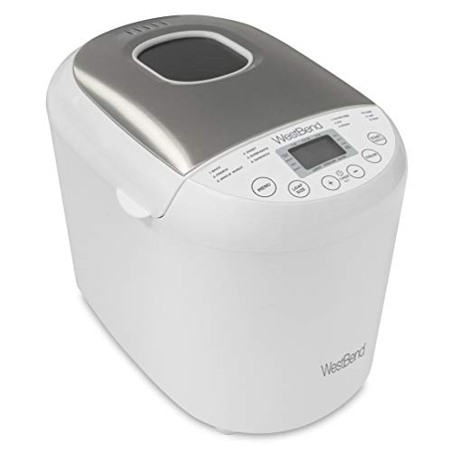 West Bend 47410 Programmable Hi-Rise Bread Maker with with 12 Programs Including Gluten Free, 2-Pound, White (Renewed)