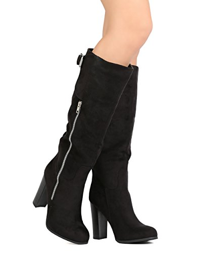 [Women Faux Suede Faux Zipper Boot - Dressy, Costume, Cosplay - Knee High Boot - GC75 By Wild Diva - Black (Size:] (Kiddie Costume For Sale)