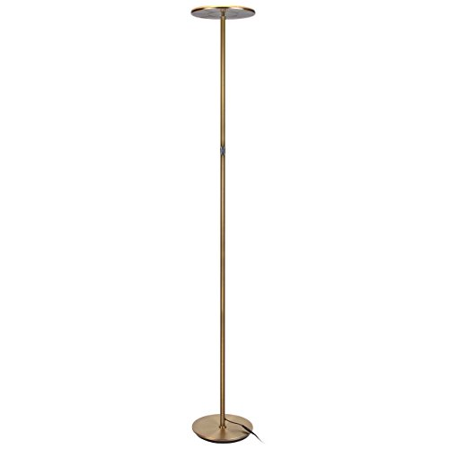 Upright Panel - Brightech Sky LED Torchiere Super Bright Floor Lamp - Tall Standing Modern Pole Light for Living Rooms & Offices - Dimmable Uplight for Reading Books in Your Bedroom etc - Antique Brass
