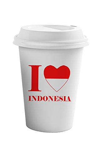 Style In Print I Love Indonesia Coffee Ceramic Travel Tumbler Mug 11oz by Style in Print