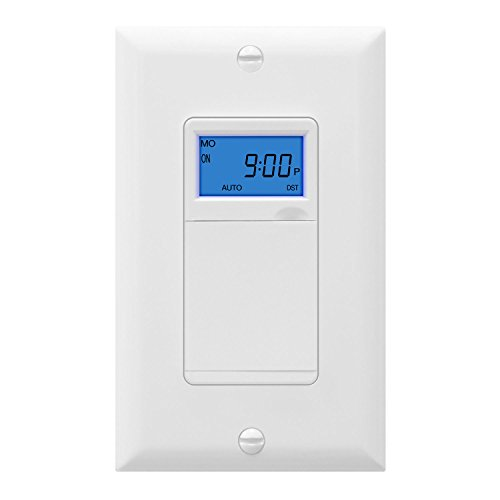 TOPGREENER TGT01-H Digital Timer Switch, Astronomic In-Wall 7-Day Programmable Timer with Interchangeable Face Cover, Dusk to Dawn, Sunrise Sunset Timer, Neutral Wire Required, White