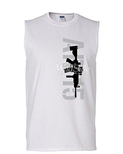 Tee Hunt AR-15 Rifle Muscle Shirt Right to Bear Arms 2nd Amendment Gun Rights Sleeveless White 2XL