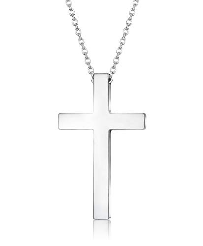 FIBO STEEL Stainless Steel Cross Pendant Chain Necklace for Men Women, 22-24 Inches (54303mm Cross, 22 inches Chain)]()
