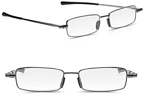Read Optics: (x2-Pack) Gafas de Lectura Vista +2.00 para Presbicia de Hombre/Mujer. Ultra Compactas de Bolsillo con Funda. Lentes Graduadas para Leer +1 hasta 3.5