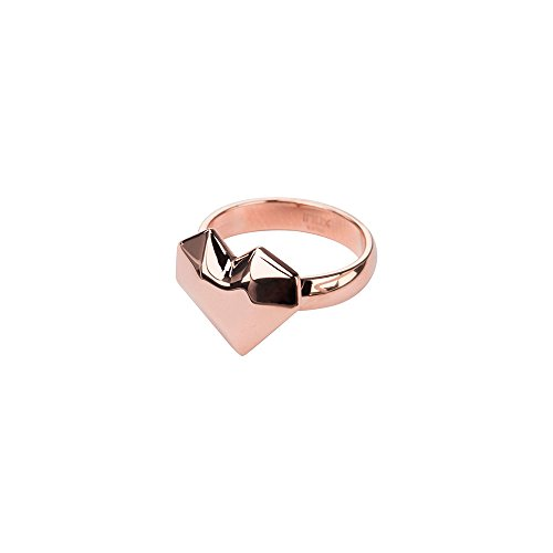 INOX Ladies 316L Rose Gold Tone IP Plated Stainless Steel Polished Heart Ring Size 7