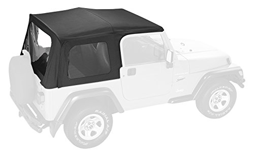 Pavement Ends by Bestop 51131-15 Black Denim Replay Replacement Soft Top Clear Windows w/Upper Door Skins for 1997-2006 Jeep Wrangler
