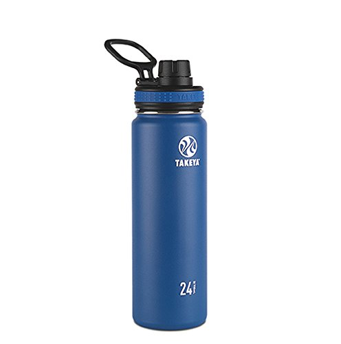 Takeya Originals Vacuum-Insulated Stainless-Steel Water Bottle, 24oz, Navy (Thermos Stainless Steel King 24 Ounce Drink Bottle)