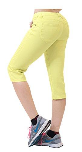 Hybrid & Co. Women's Butt Lift Super Comfy Stretch Denim Capri Jeans Yellow 18